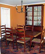 Shaker Community Dining Set with Cherry & Aniline Dye, & Curly Maple Accents